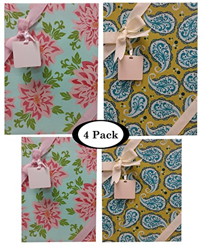 Wreath Flat Card (Gift Boxes With Lids All Occasion - 4 pack Assortment Bundle - Includes Ribbon and Card Tag)