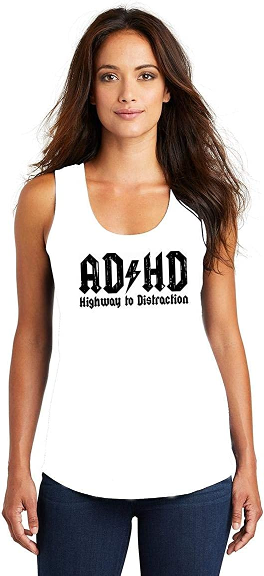 Comical Shirt Ladies ADHD Highway Distraction Funny T Shirt Tri-Blend Tank Top