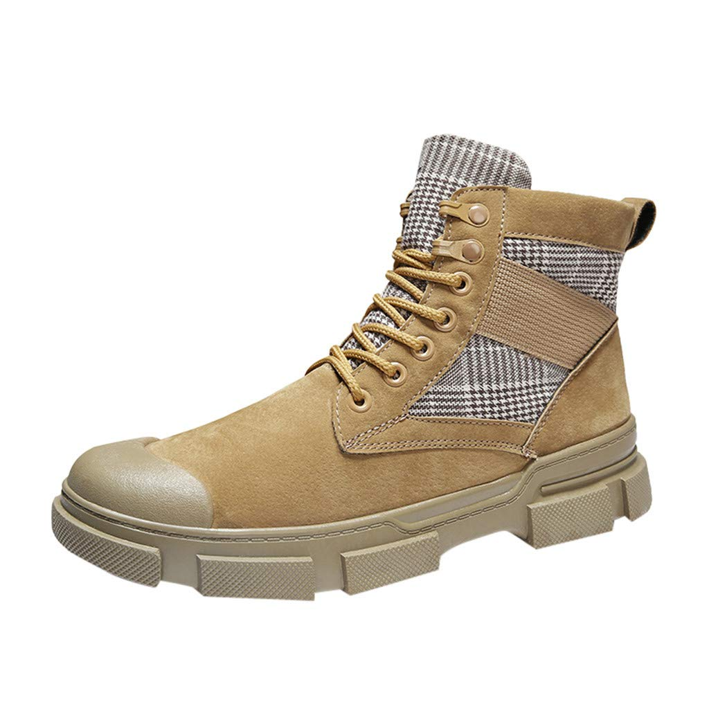 Kauneus High-Top Shoes Mens Trail Trekking Round Toe Lace Up Ankle Boot Modern Boys Outdoor Sport Desert Boots Sneakers Khaki by Kauneus Fashion Shoes