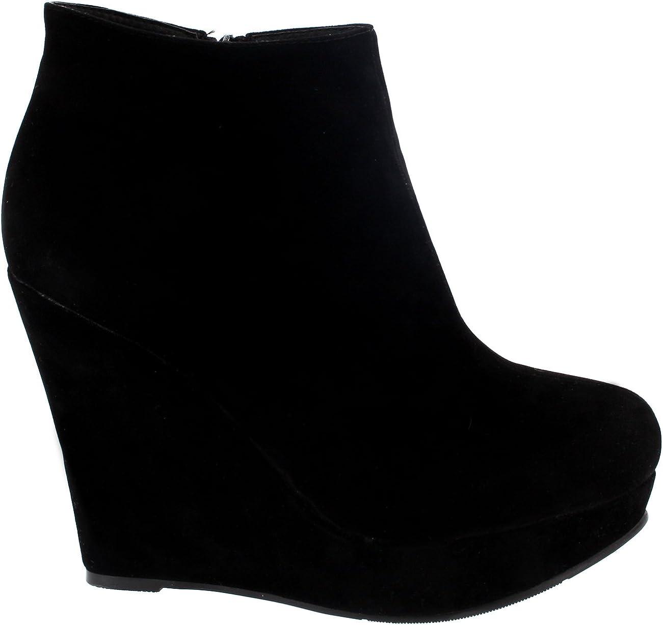 Project Femmes Haut Talon Compens/é Cheville D/émarrage Plate-Forme Chaussures