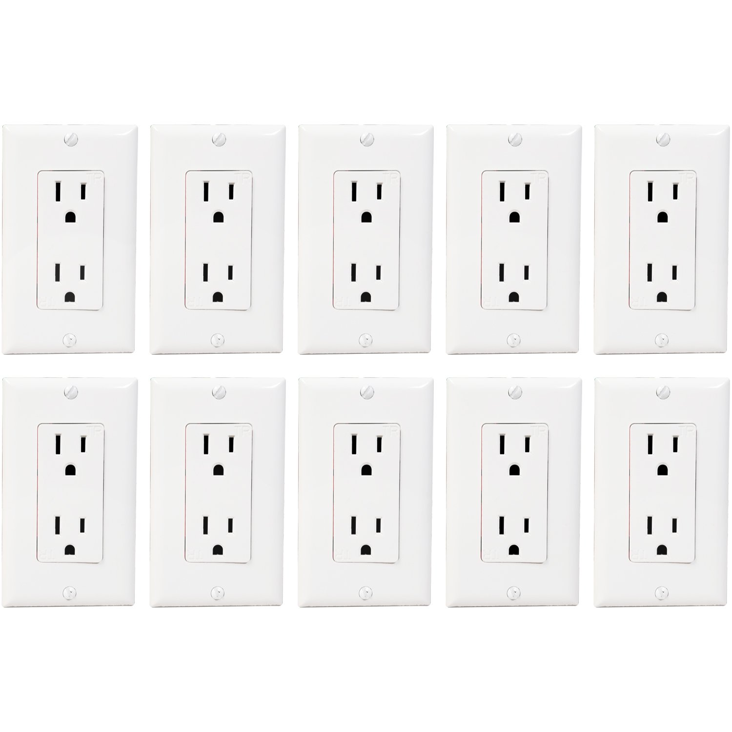 Enerlites 15A Decorator Outlet with Covers, 61501-WWP | Electrical, Residential and Commercial Grade, Tamper-Resistant, Duplex Receptacle, Self-Grounding, 2-Pole, UL Listed | 15A 125V 1800W - 10 Pack