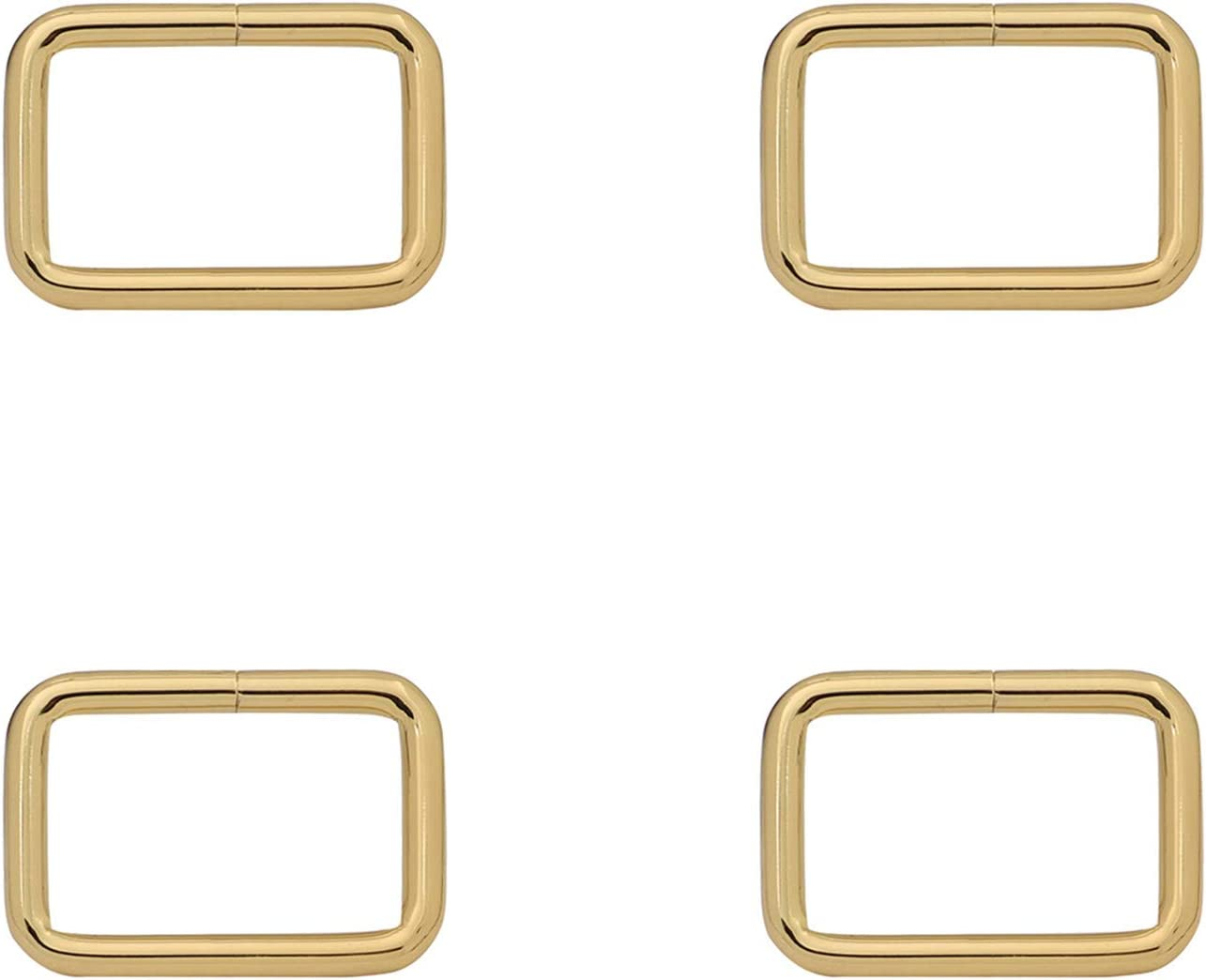 BIKICOCO Rectangle Buckle Ring Metal Non Welded 1.25x0.8 Inch Inside Dimensions Gold Pack of 10