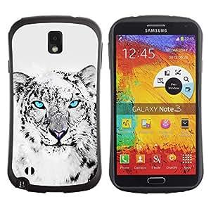 Be-Star Impreso Colorido Diseño Antichoque Caso Del iFace Primera Clase Tpu Carcasa Funda Case Cubierta Par SAMSUNG Galaxy Note 3 III / N9000 / N9005 ( Cool Snow Leopard Black White Animal Cat )