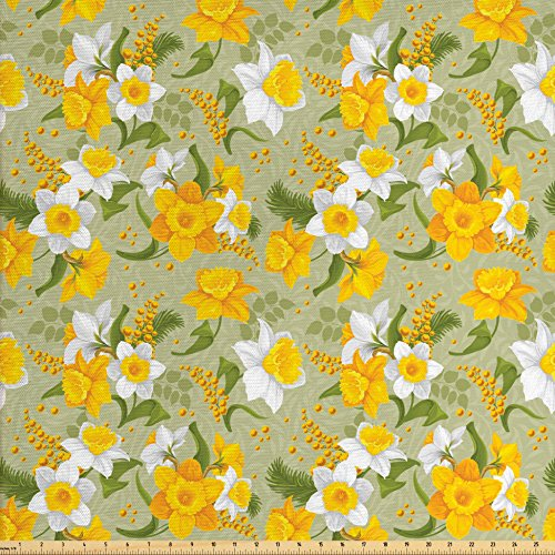 - Lunarable Daffodil Fabric by The Yard, Vintage Inspirations Floral Arrangement Pattern Romantic Bouquet Nature, Decorative Fabric for Upholstery and Home Accents, Green Marigold White
