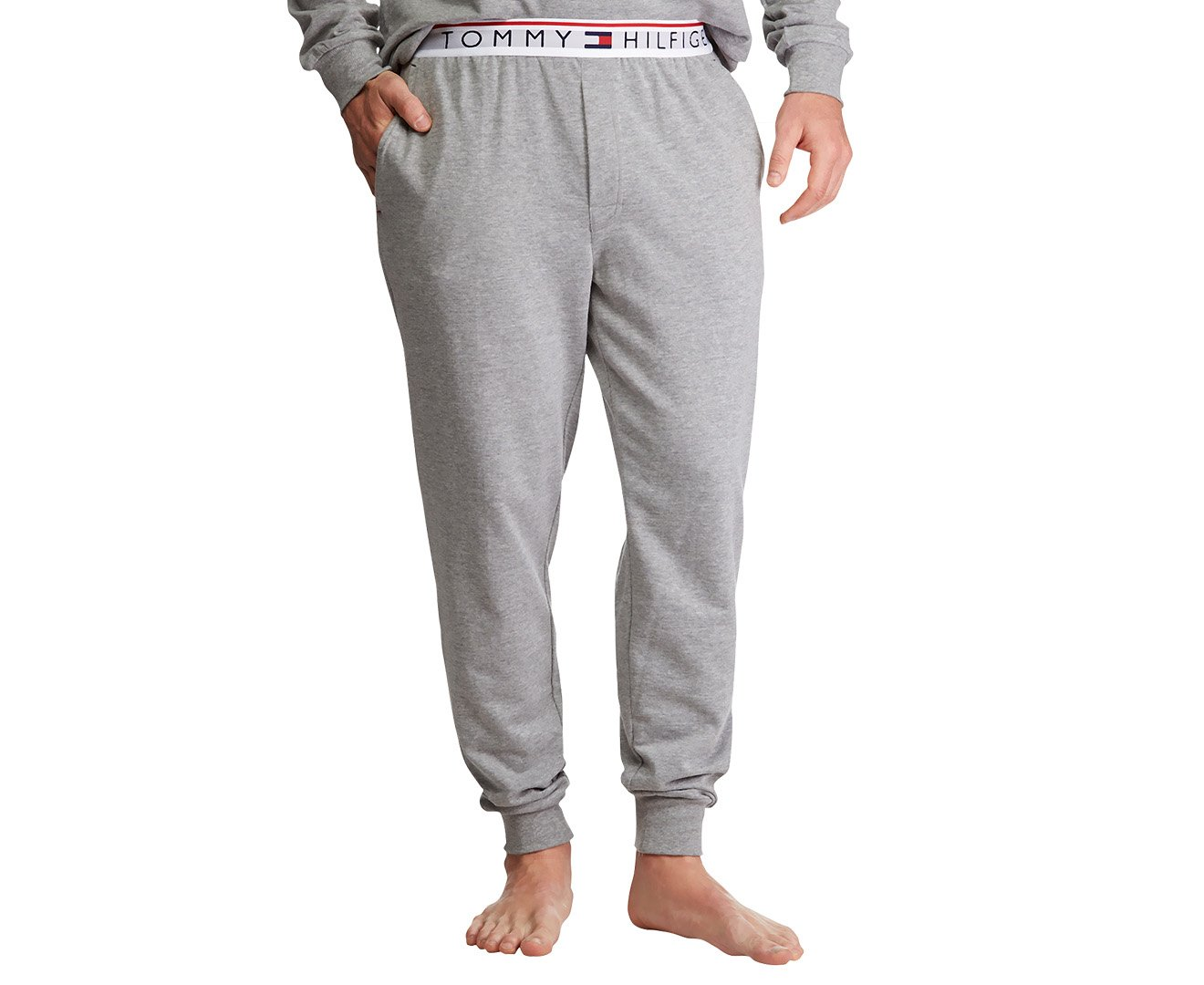Tommy Hilfiger Men's Modern Essentials French Terry Jogger, Grey Heather/White, L