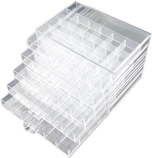 Plastic Storage Box Portable Empty Rhinestone 6 Grid Transparent Jewelry Case