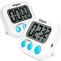 Uigos 2 Pack Digital Kitchen Timer II 2.0 , Big Digits, Loud Alarm, Magnetic Backing, Stand, for Cooking Baking Sports…