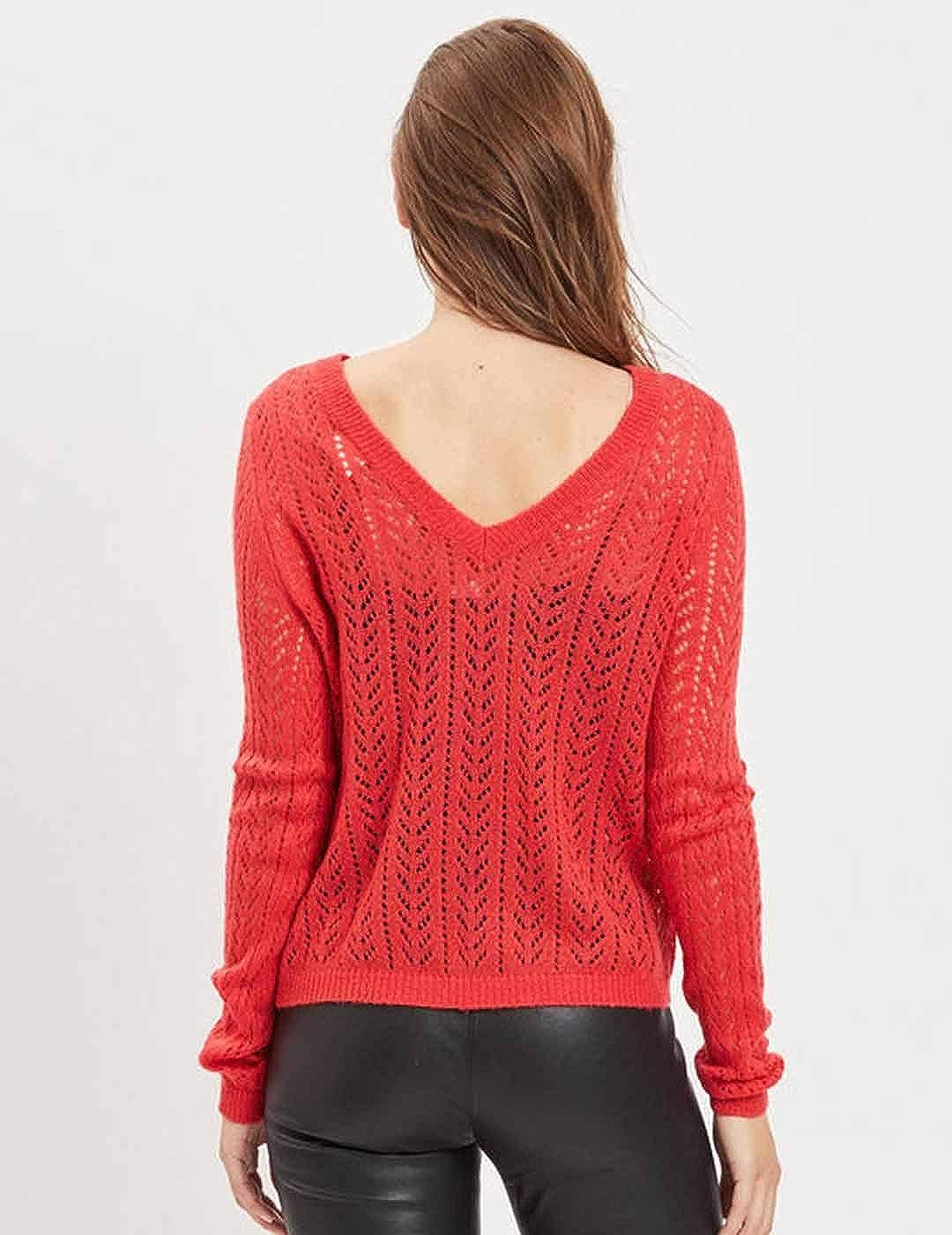 TALLA XL. Vila Vilisva Knit L/S Pointel Top/TB suéter para Mujer