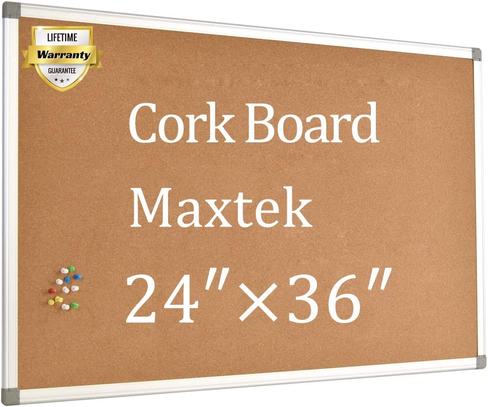 Cork Board Bulletin Board – 24 x 36 Message Board Wall Mounted Pin Board Aluminum Framed with 12 Pins