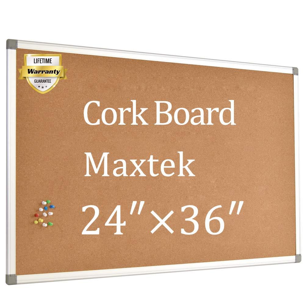Cork Board Bulletin Board - 24 x 36 Message Board Wall Mounted Pin Board Aluminum Framed with 12 Pins by maxtek