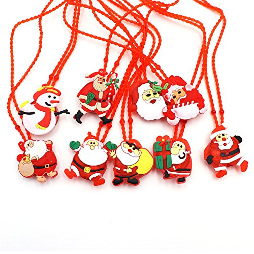 San Tokra 12 Pcs Christmas Holiday Flashing Light Necklaces, Christmas Tree Snowman LED Pendant Necklace
