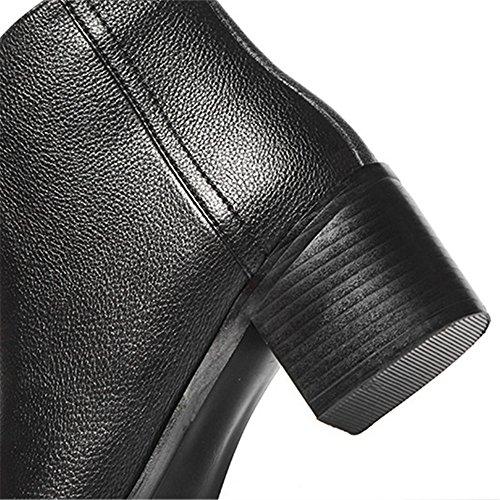 Donna In Pelle Di Vitello Nove Sette Punta Quadrata Tacco Grosso Casual A Mano Comfort Stivaletti Alla Caviglia Nero