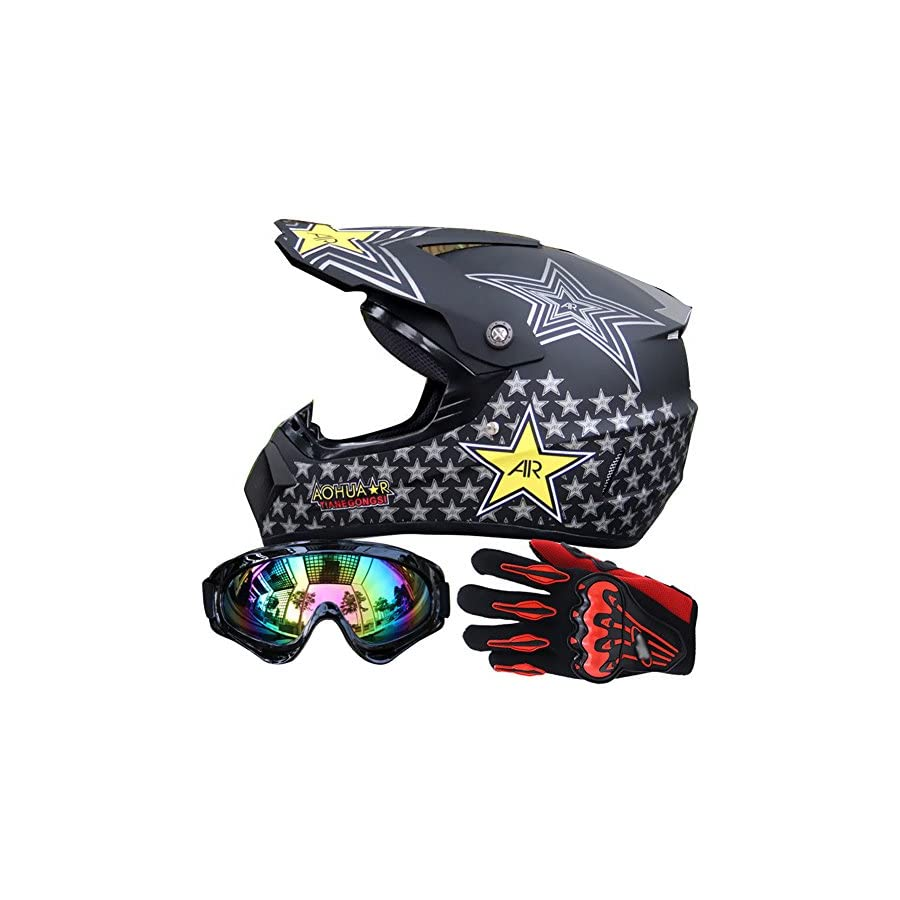 Miidii Men Helmet + Goggles + Gloves Racing Off Road Helmet Dirt Bike ATV Gear Motocross Helmet