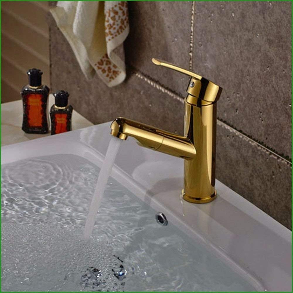 The gold Oudan Basin Mixer Tap Bathroom Sink Faucet The Brass chrome gold bathroom sink basin faucet and cold water mixing water can pull-down faucet, Silver (color   The gold)
