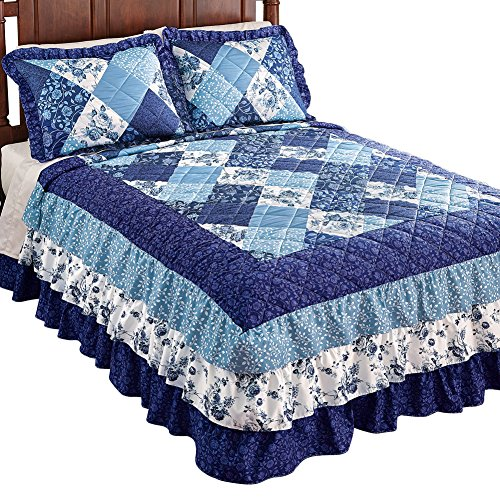 Collections Etc Sonoma Triple Ruffle Floral Patchwork Medium-Weight Bedspread, Blue Patchwork, Queen