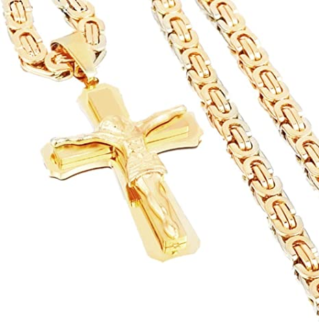 """Mens Stainless Steel Cross Necklace Chain 18K Gold Filled Jesus Pendant 24/"""""""