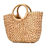 JOSEKO Summer Beach Bag, Women Straw Paper Handbag Top Handle Big Capacity Travel Tote Purse