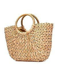 JOSEKO Summer Beach Bag, Women Straw Handbag Top Handle Shoulder Bag Travel Tote Purse