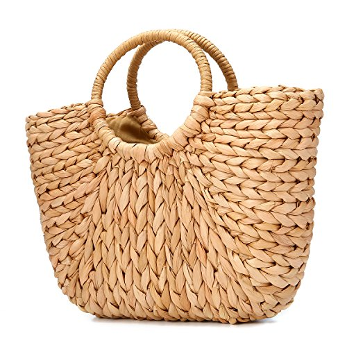 JOSEKO Summer Beach Bag, Women Straw Paper Handbag Top Handle Big Capacity Travel Tote Purse ()