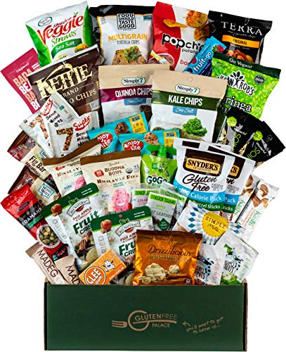 Deluxe Snacks Care Package – GLUTEN-FREE, DAIRY-FREE, Kosher Cookies, Bars, Chips, Puffs, Fruit & Nuts. [40 Count] GlutenFreePalace Healthy Snack Box, College Care Package by SNACK ATTACK