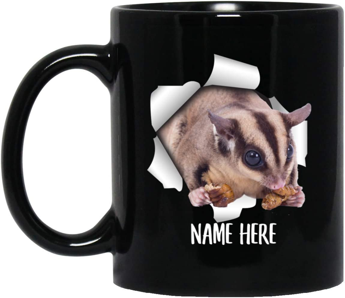 Funny Personalized Sugar Glider Eating Custom Name Black Coffee Mug 11oz