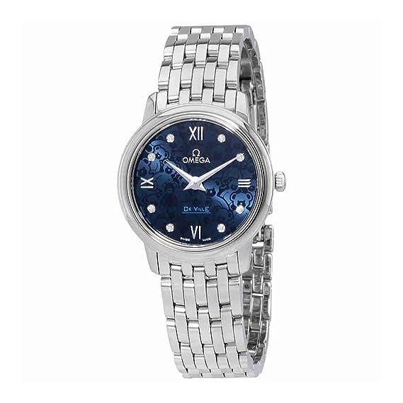 Omega de Ville esfera azul reloj de pulsera para mujer 424.10.27.60.53.003: Amazon.es: Relojes