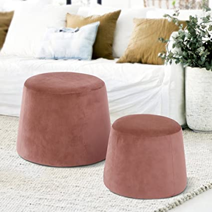 finest selection 7c292 71873 FurnitureR Velvet Pouf Stool Round Ottoman Fabric Round Accent Chair Stool  Without Storage Pink Set of 2