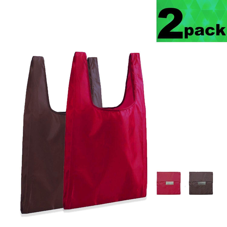特大 再利用可能 折りたたみ式 食料品バッグ リップストップ ポリエステル 環境に優しい 丈夫 洗濯可能 ショッピングバッグ 2個セット B07QSJWYG4