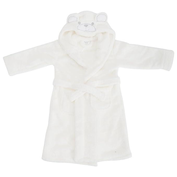 Bata de estar por casa de polar con capucha y diseño de oso para niñas (