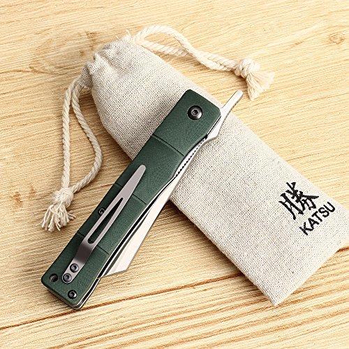 KATSU Handmade D2 Steel Blade G10 Handle Bamboo Style Japanese Razor Pocket Folding Knife with Pocket Clip