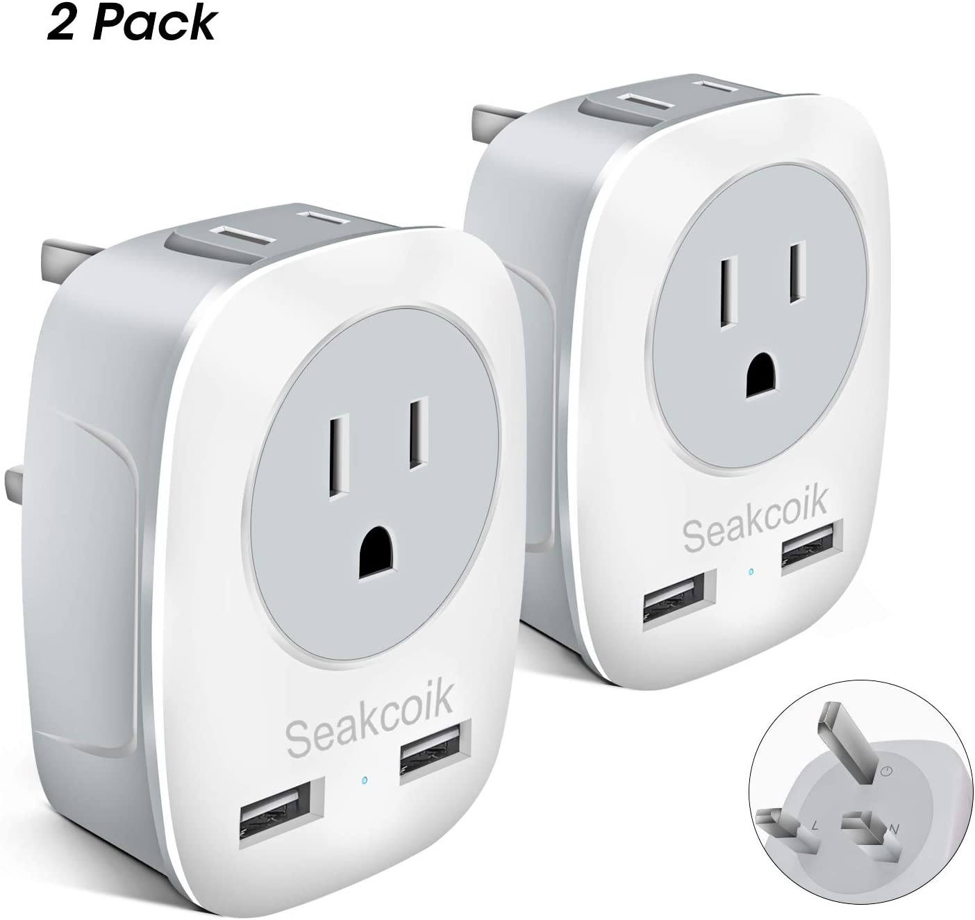 Seakcoik UK Travel Adapter 2 Pack, International Power Plug Adapter with 2 USB,Outlet Plug Adaptor for USA to London Scotland Dubai Ireland Hong Kong (Type G)