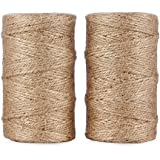 Jute Twine 656 Feet 3Ply Natural Arts Crafts Jute Rope Durable Packing String for Gardening Applications(2pcs x 328feet)