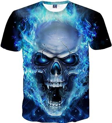 ZARLLE Camiseta Hombre, Casual Skull Impresion 3D Tees De Tallas ...