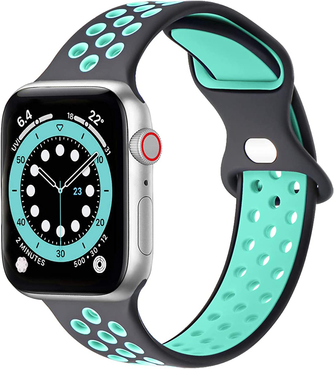GROGON Compatible with Apple Watch Bands 44mm 42mm 40mm 38mm for Men Women, 10 Pack Silicone Sport Bands Waterproof Breathable Soft Replacement Wristband Strap for iWatch SE Series /6/5/4/3/2/1