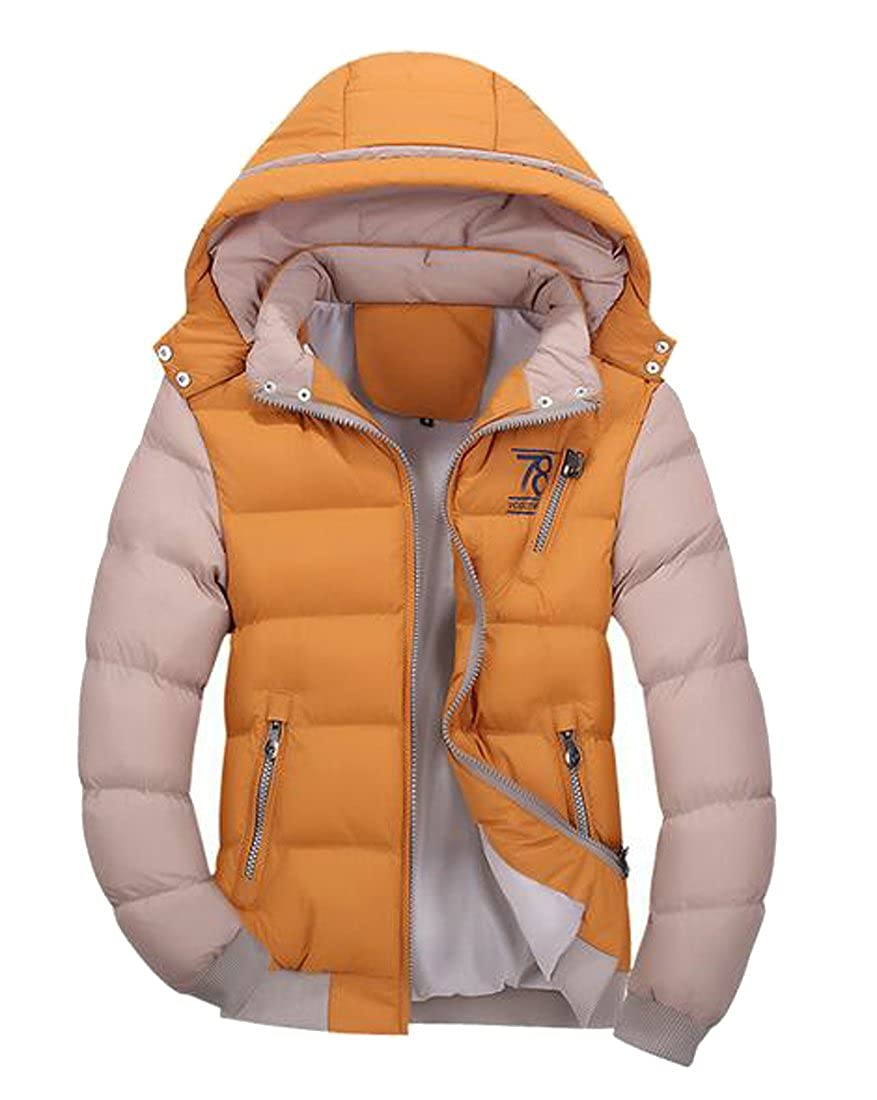 Hokny TD Men/â/€s Winter Thick Outdoor Down Zipper Jacket Outwear Puffer Coats with Hoodie