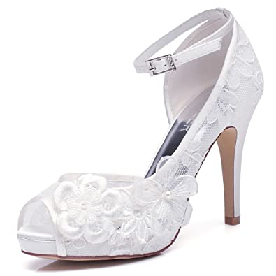 02c4b65be00b LUXVEER Wedding Shoes for Women with Floral Brooches Medium Heel-4inch-Peep  Toe (