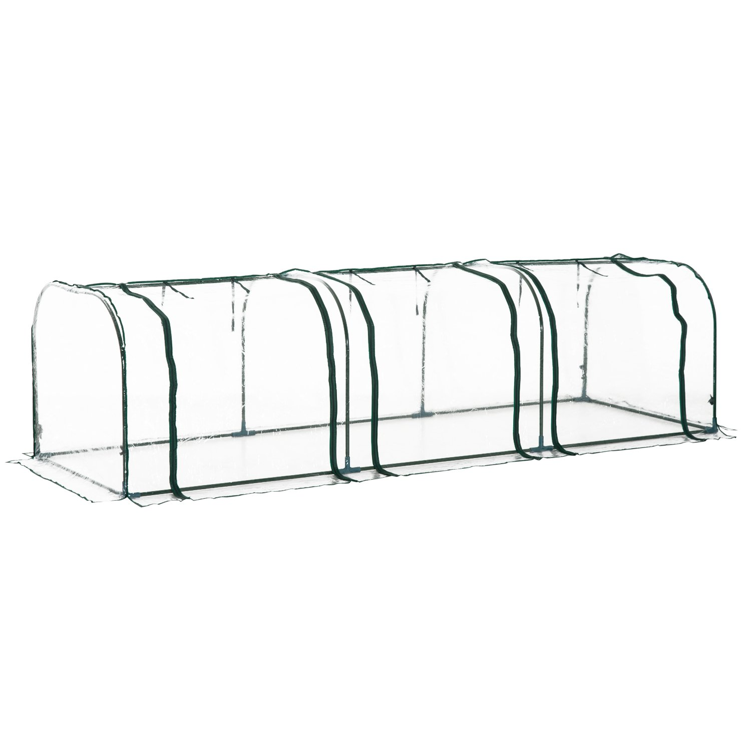 Outsunny Large Transparent PVC Tunnel Greenhouse Green Grow House Steel Frame 300x100x80cm manufactured for MHStar UK01-04760331