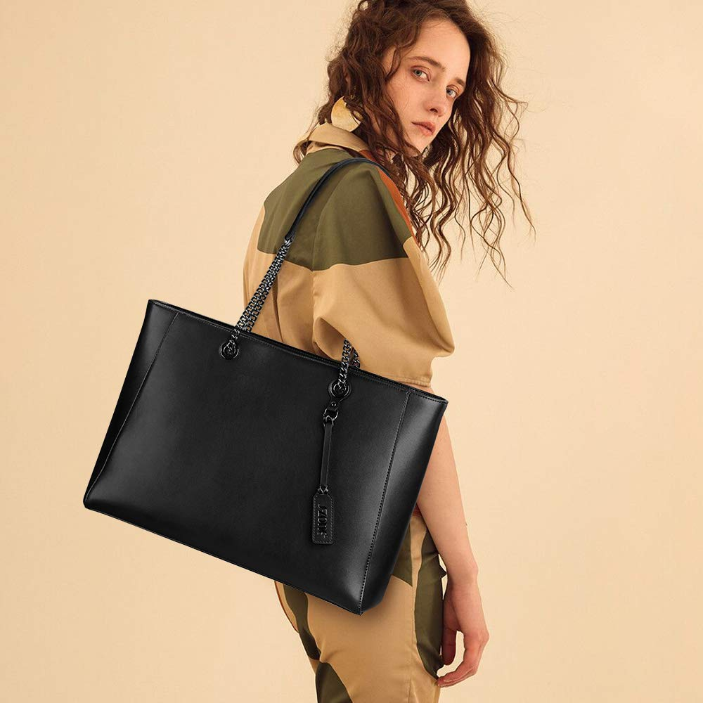 S-ZONE Women Leather Tote Bag Genuine Leather Shoulder Bag Fit Up to 15.6 in Laptop by S-ZONE (Image #2)