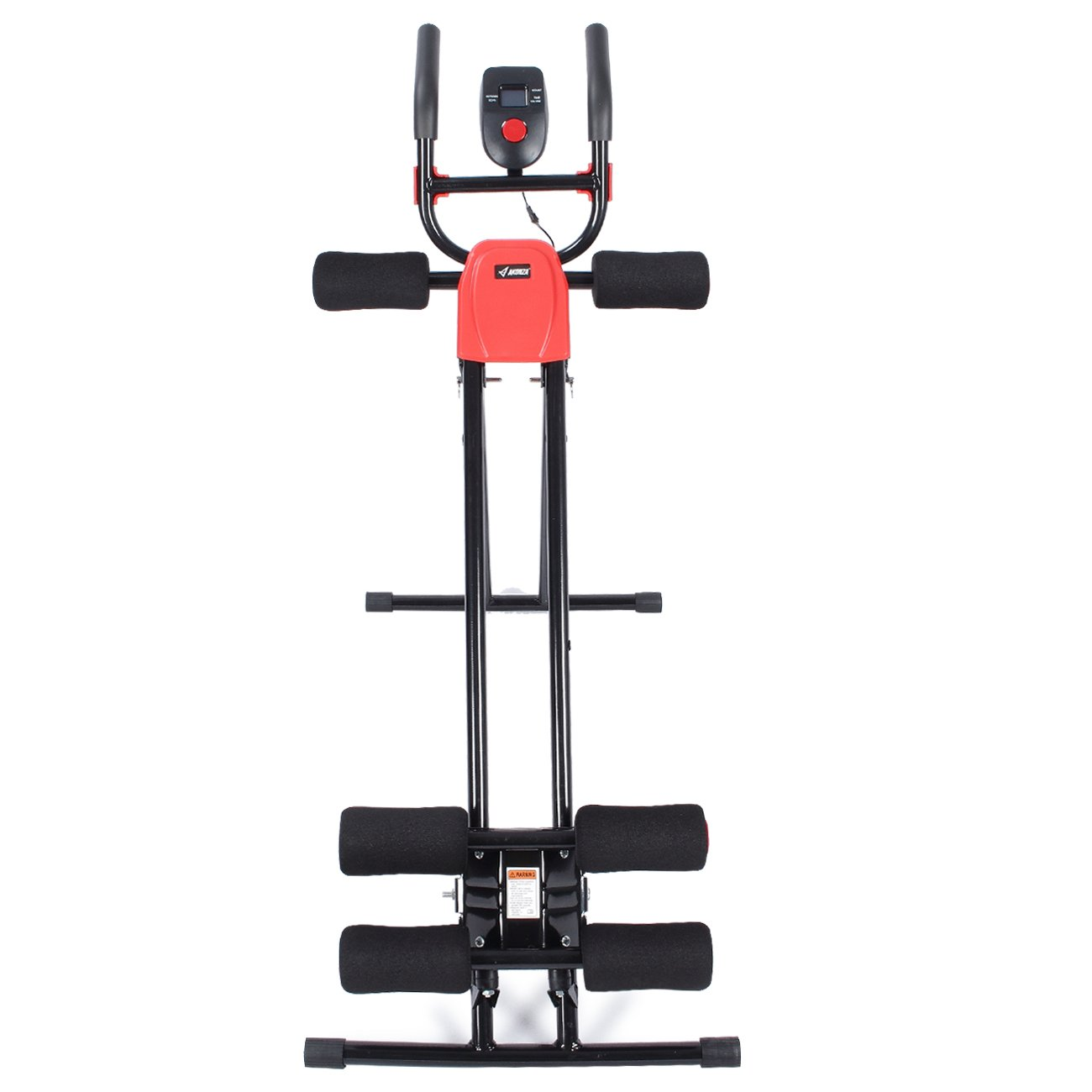 Akonza Abdominal Core Power Ab Trainer Adjustable Workout Fitness Cruncher Station with LCD Display, Red Black