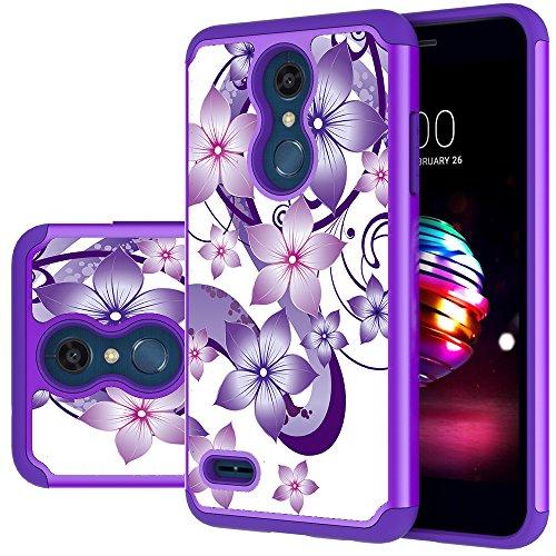 LG K30 Case, LG Phoenix Plus Case,LG Premier Pro LTE Case,LG K10 Alpha,LG K10 2018 Case, Yiakeng Shockproof Protection Tough Rugged Dual Layer Armor Cases Cover (Purple Flower)
