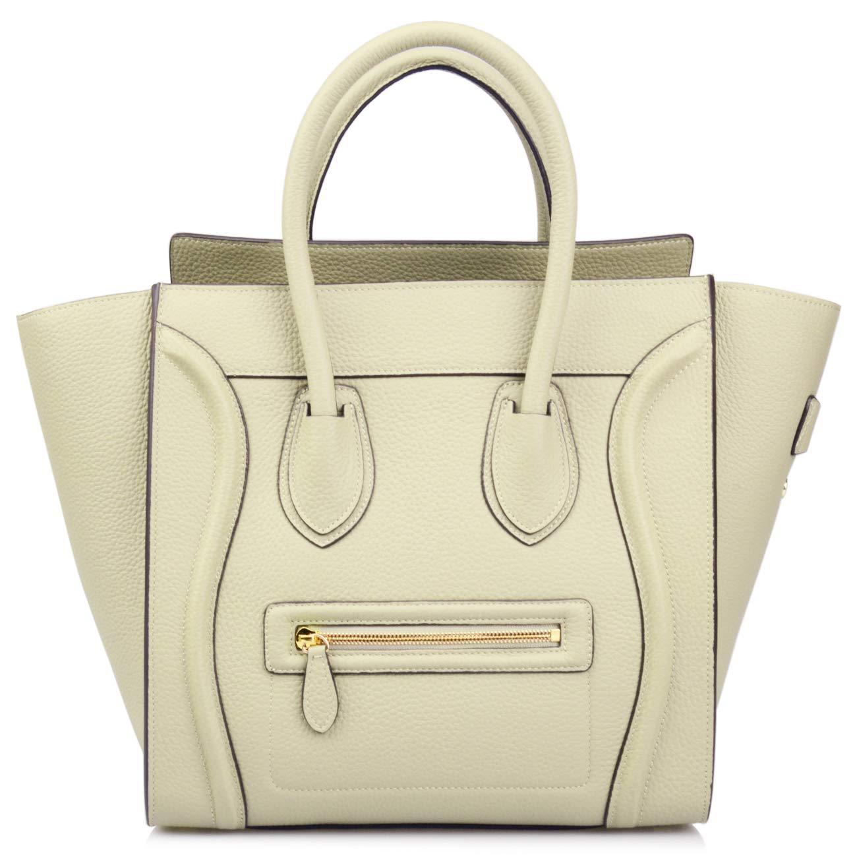 Ainifeel Women's Genuine Leather Smile Large Top Handle Handbag Purse (Large, Light taupe.)