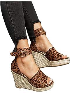 dcade376e8b8 FISACE Womens Espadrille High Platform Wedge Sandals Open Peep Toe Ankle  Strap Buckle Shoes