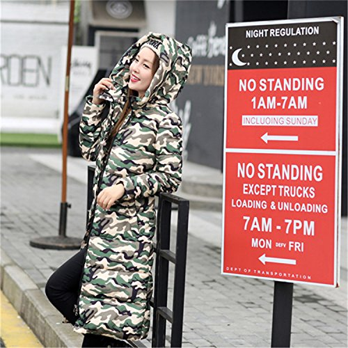 Feilongzaitianba Wadded Cotton Jacket Women Winter Coat Female Fashion Warm Parkas Hooded Women'S Down Jacket Casual Coat Plus Size 3Xl C2381 Camouflage Green Xl by Feilongzaitianba