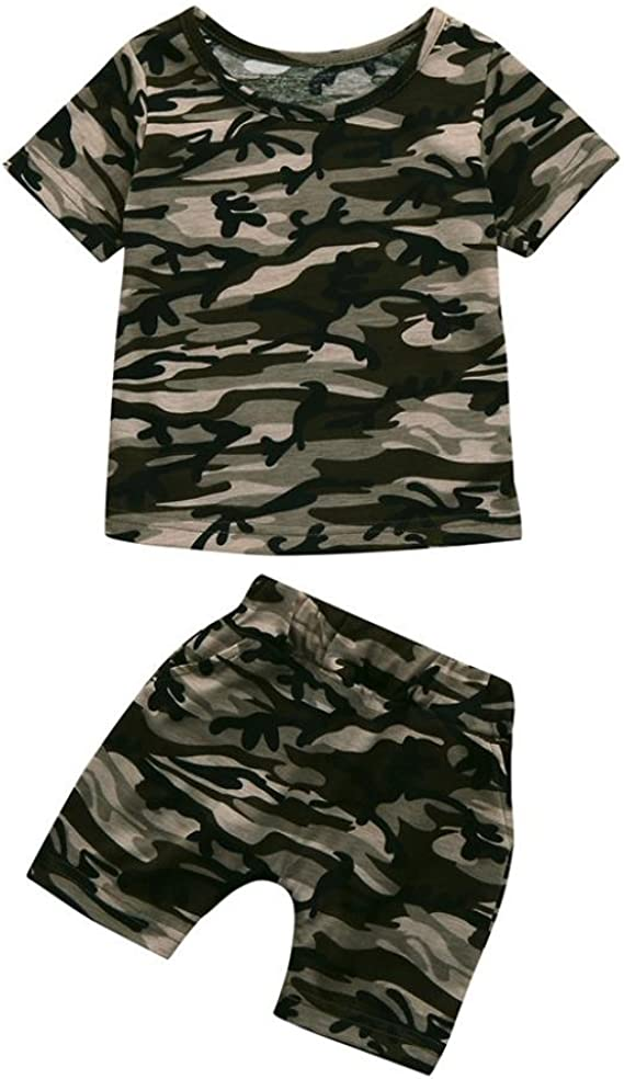 1-4Years Kids Letter T Shirt Tops+Shorts Outfits Set Iuhan Boys Camouflage Clothes