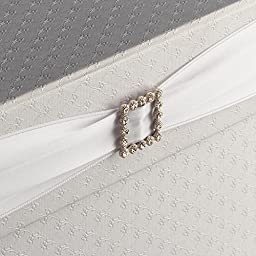 Hayley Cherie - Square Gift Card Box with Rhinestone Slider & Ribbon. Wedding Theme, Textured White 10\