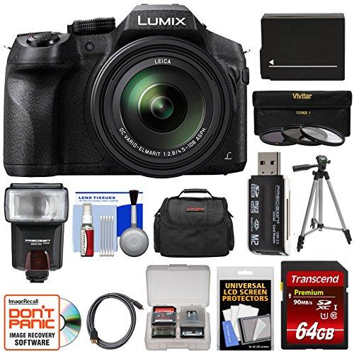 Panasonic Lumix DMC-FZ300 4K Wi-Fi Digital Camera with 64GB Card + Battery + Case + Tripod + Flash + 3 Filters + Kit