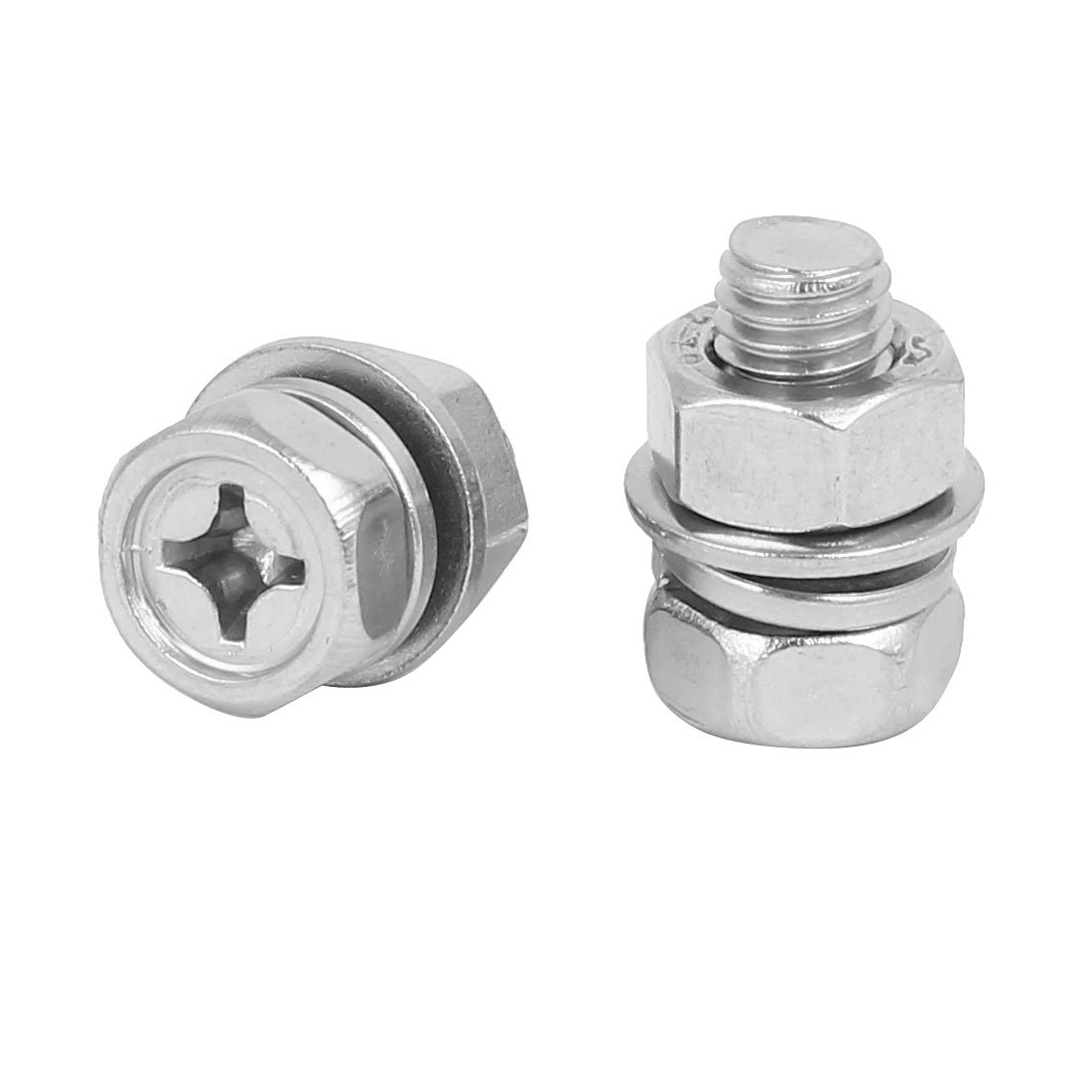 uxcell M8 x 16mm 304 Stainless Steel Phillips Hex Head Bolts Nuts w Washers 5 Sets SYNCTEA046495
