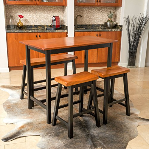 4 Piece Dining Set with 2 saddle stool bar seats,1 saddle bench chair and a table. Features wood with walnut finish and modern bistro feel. Perfect for small living spaces, dorms or apartment kitchens