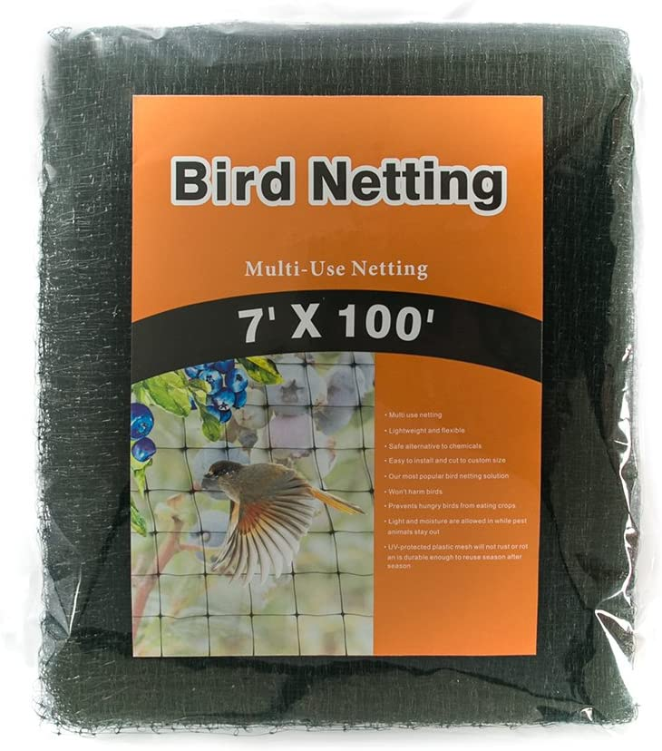 NaiteNet Bird Netting-Stops Hawks,Blue Herons from Plants and Vegetables - Perfect for Garden Netting and Protective net- Black 7x100 ft