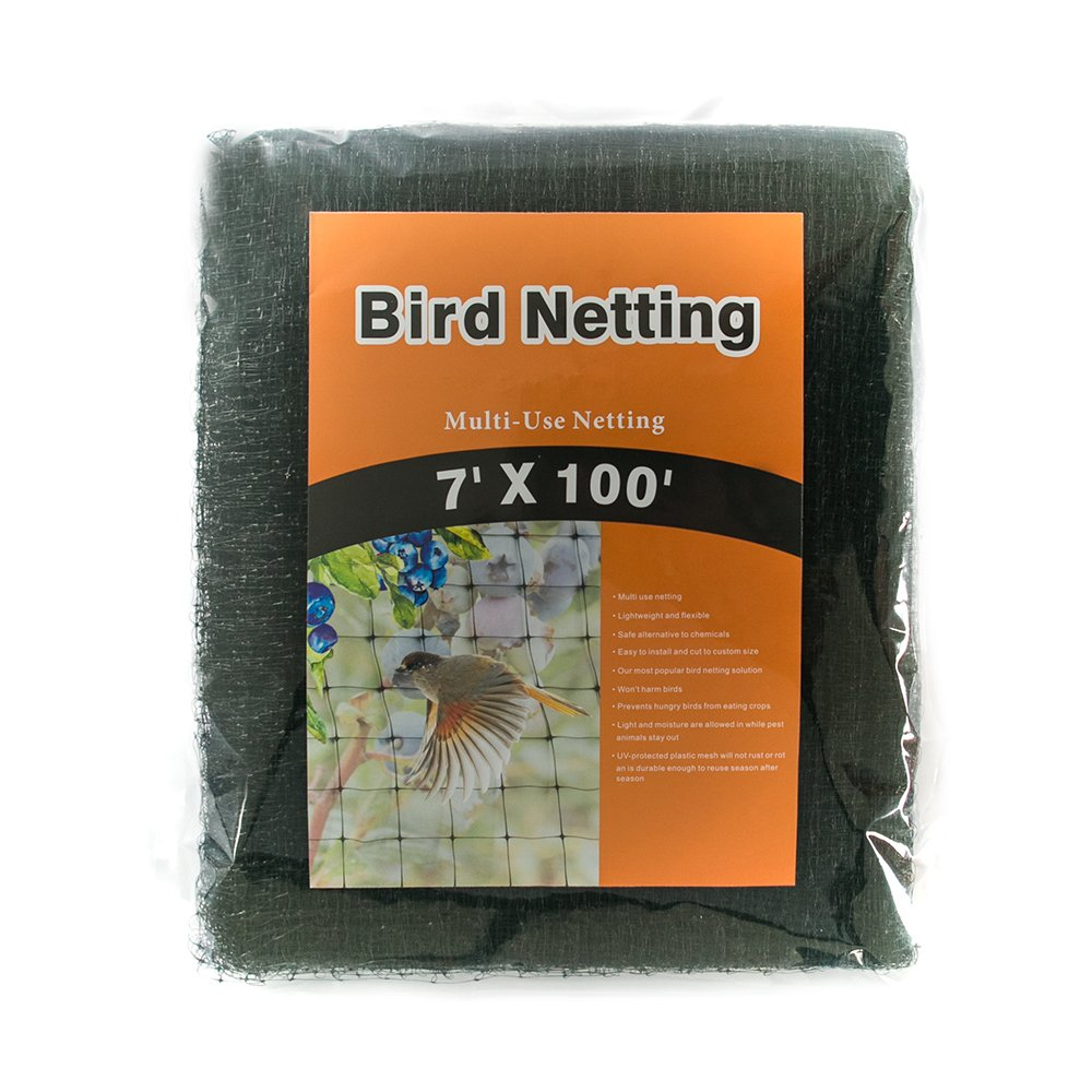 NaiteNet Bird Netting-Stops Hawks,Blue Herons from Plants and Vegetables – Perfect for Garden Netting and Protective net- Black 7×100 ft